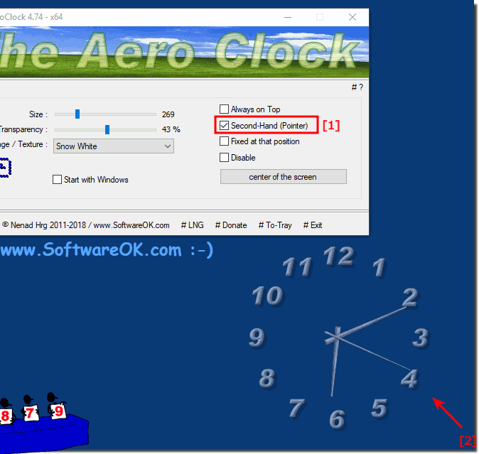 Show The Window Desktop Clock seconds pointer!