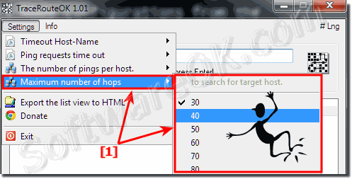 Change maximum number of hops to search for target host!