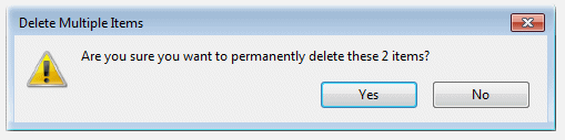 Confirm Delete from the Windows-7 Recycle Bin