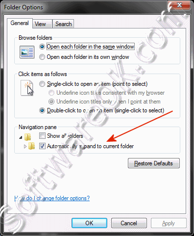 Disable Automatically expand to current folder in Windows-7 Explorer