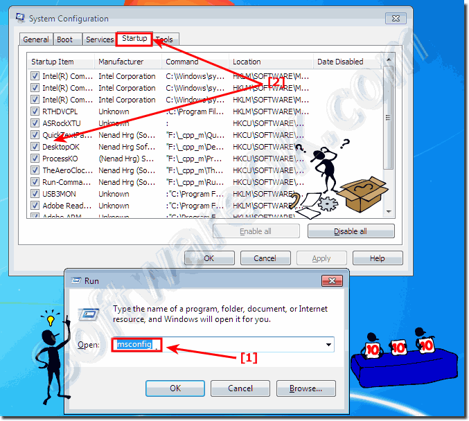 Disable or enable auto startup programs in Windows!