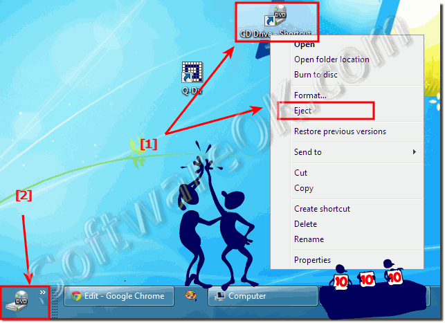 Eject the CD or DVD Drive via the Desktop Context Menu or