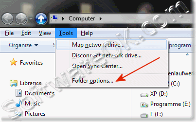 Folder Options Menue in Windows 7 Explorer