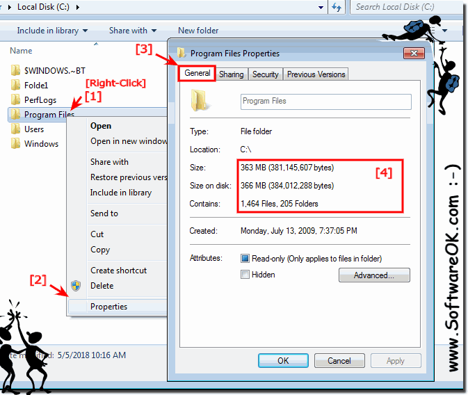 Folder size and folder size on disk in Windows 7 Explorer