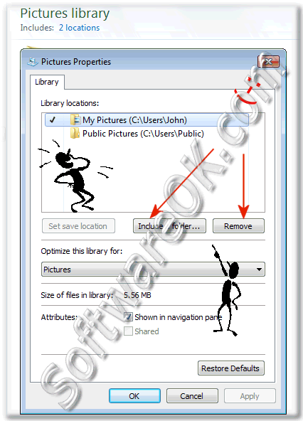 Windows-7 - Include or Delete folders from libraries