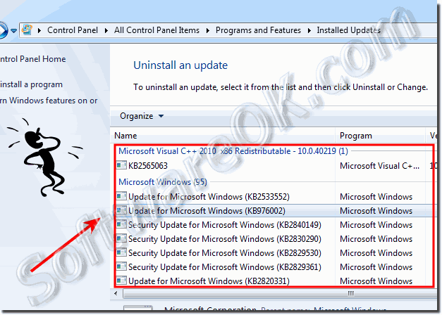 Programs and Features - Installed Updates in Windows-7