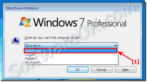 Switch users in windows 7 via Shut-Down Dialog!