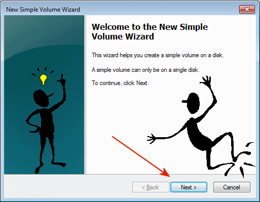 Windows-7 New Simple Volume Wizard!