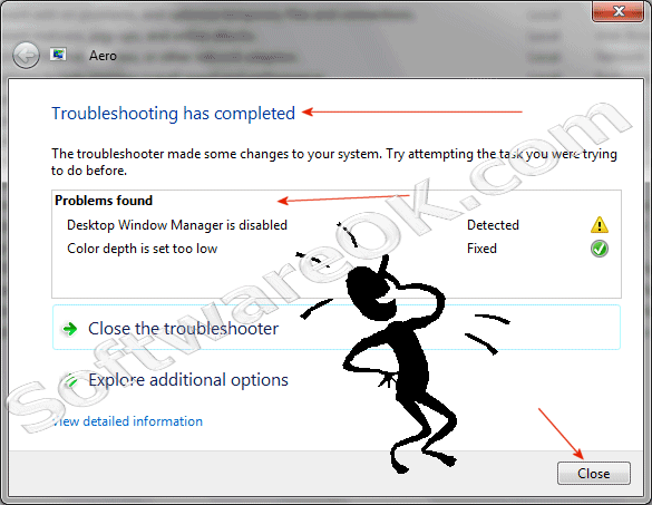 Windows 7 - Aero Troubleshooting has completed