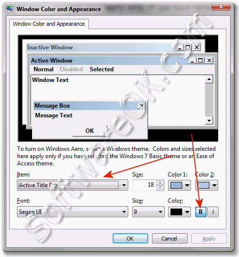 How To Change Or Set Windows 7 Default Font Settings To Bold Italic