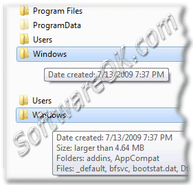 Windows Seven whit and whitout folder size tool-tip