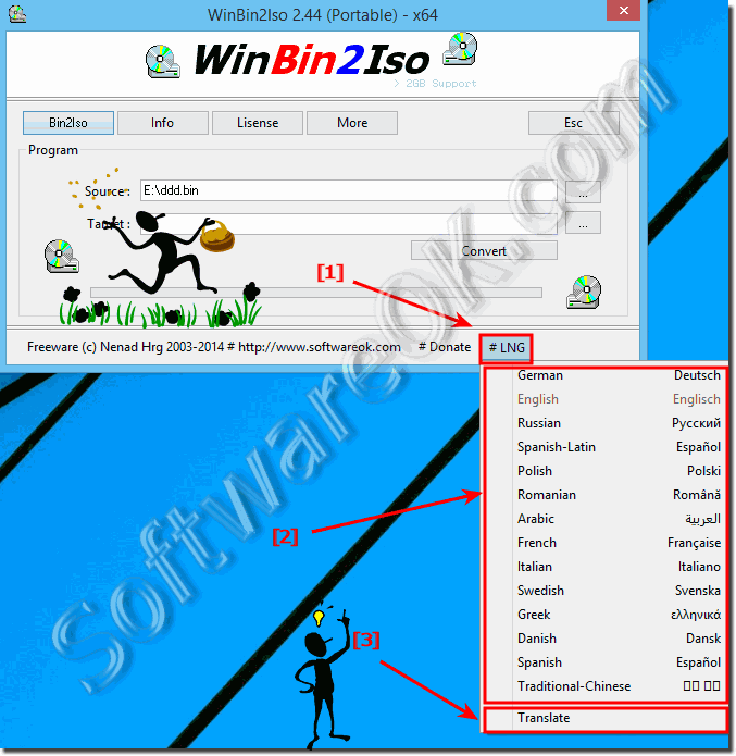 Translate or Switch the Language in Win-BIN-To-ISO!