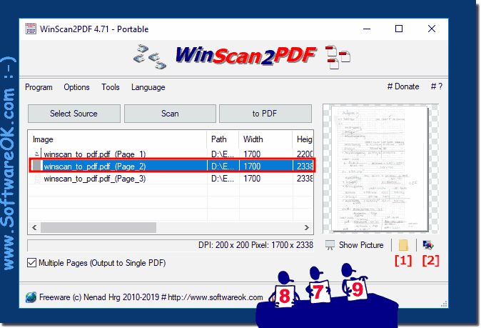 Open the scanned image in the folder or edit before create PDF!