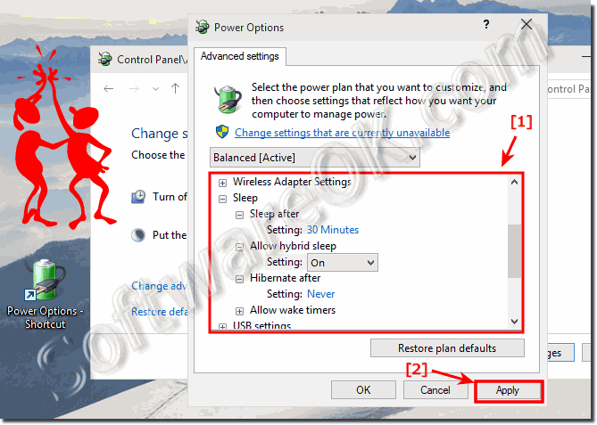 Advanced power options settings in Windows-10!