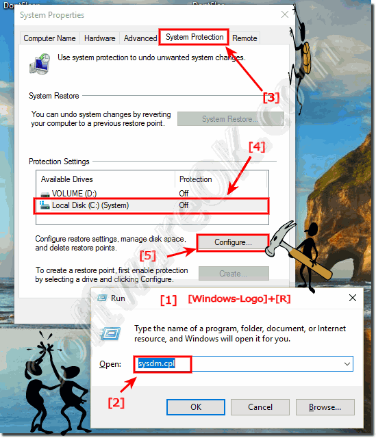 Change system protection settings in Windows-10!