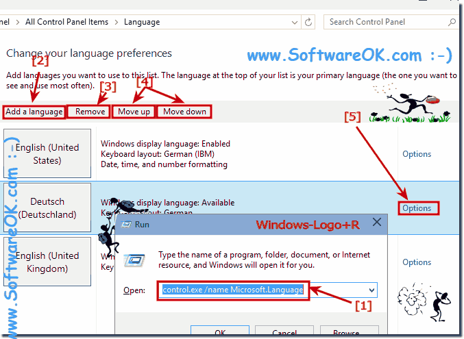 how to change the language on microssft 2015
