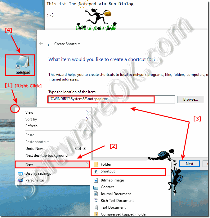 Desktop shortcut for notepad on Windows 10!