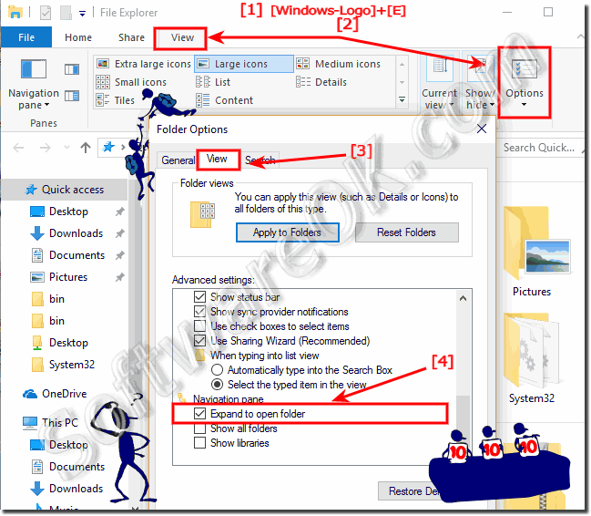 Expand the folders in Windows 10 MS-Explorer!