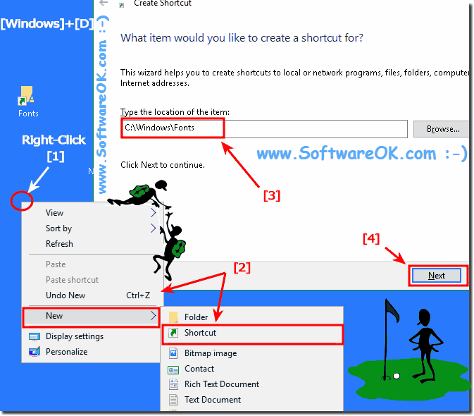 Where are fonts stored in Windows 10 and the font folder