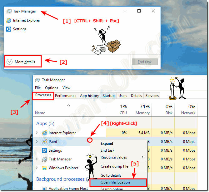 Open the location of an Program in Windows-10 via the Task-Manager!