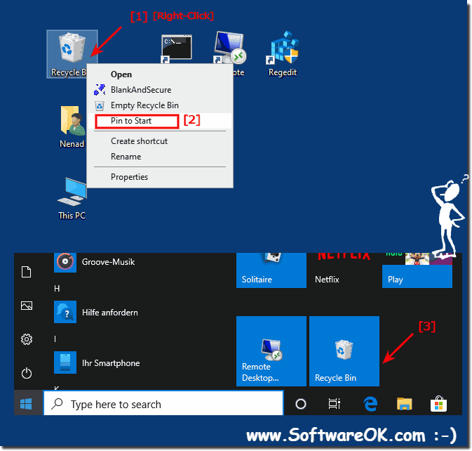 Recycle bin in windows 10 Start!