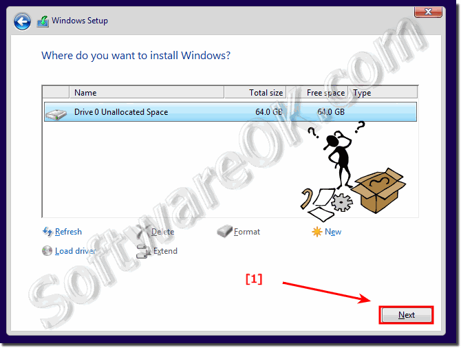 Select the Partition for the Windows 10!
