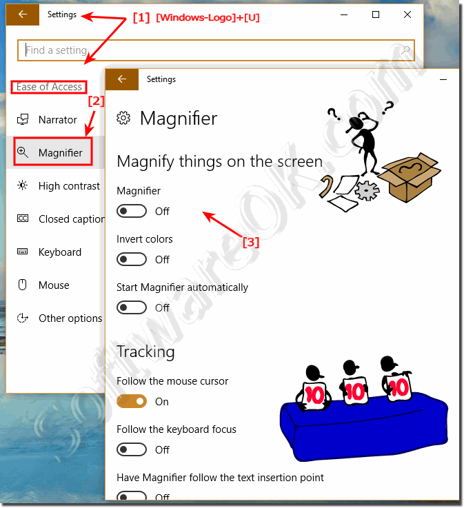 Settings for Magnifier in Windows-10!