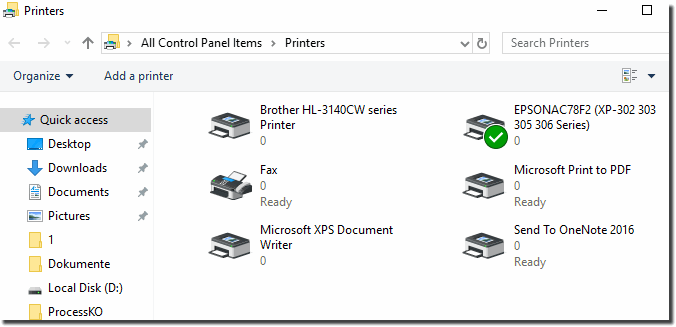 Standard printer settings in Windows 10!