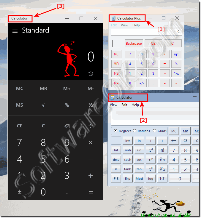 Where is the classic calculator in Windows 10 (find, start, run)?