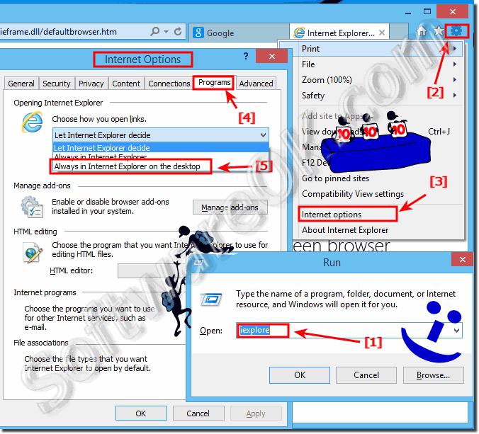 Open and start Internet Explorer always on Windows 8 1 / 10 desktop