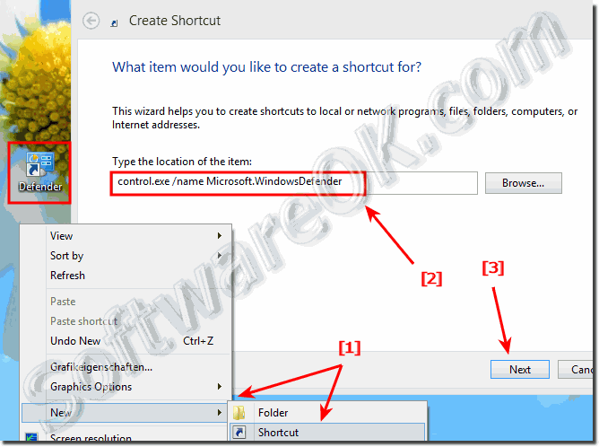 Create desktop shortcut for Windows-8 Defender