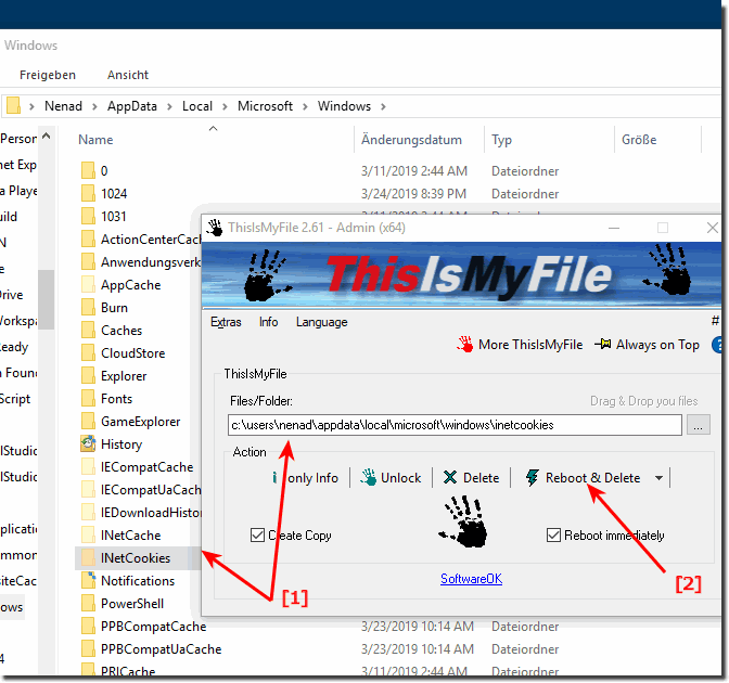 Delete  the Cookies Folder in Windows 10 and 8.1!