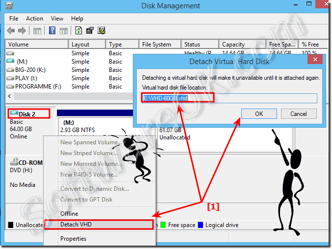 Detach, unmount or eject the VHD via disk management in Windows!