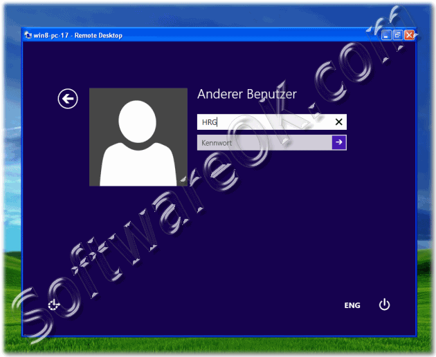 Log-In on Windos-8 notebook via Remote Desktop connection