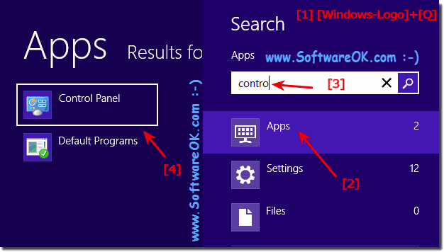 Open the Control Panel over the Win-8 Start Menu