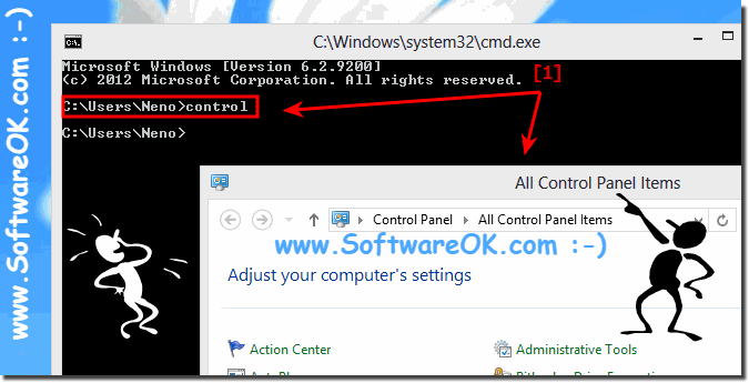 Start Windows 8 and 8.1 Control-Panel via command prompt cmd.exe