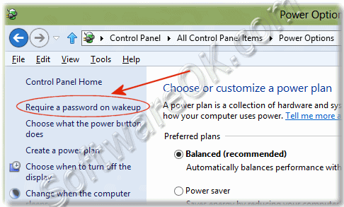 Windows-8 Requiere password on wakeup!