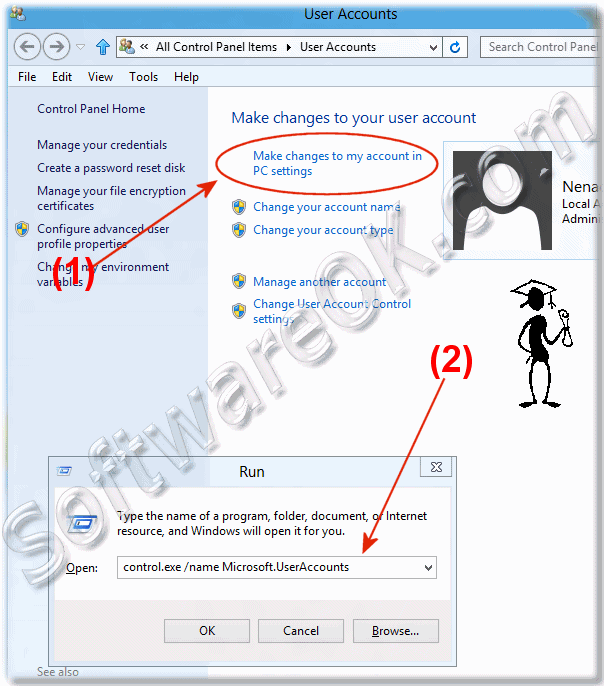 How to change the Windows 8 user password, remove or create?