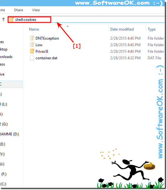 find and open  the Cookies folder in Windows!