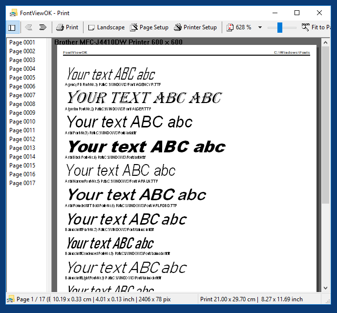 Fonts printing with print and preview function!