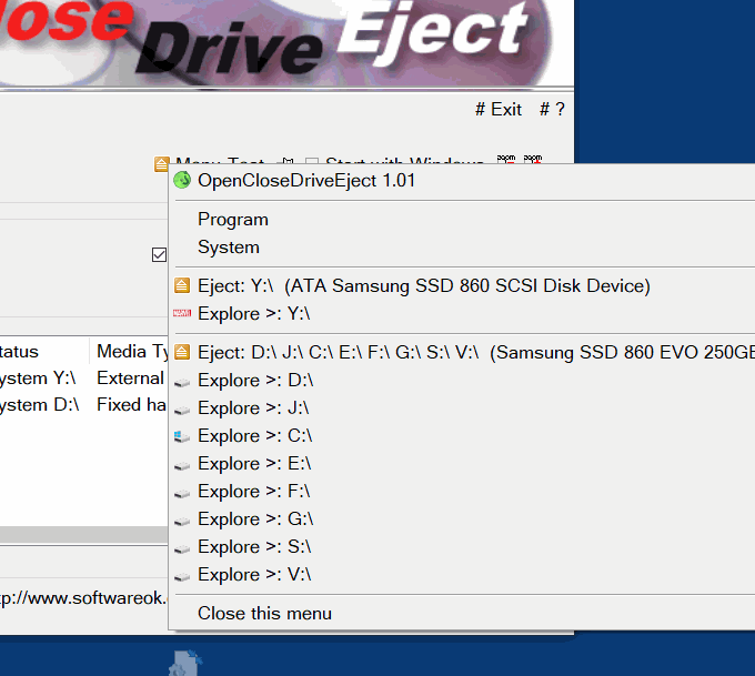 Easy Drive Eject Access via Task-Bar-Tray Menu and Explore!