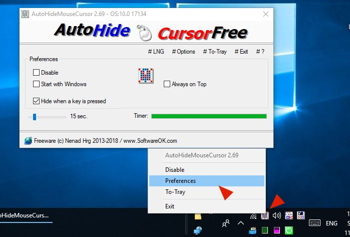AutoHideMouseCursor 2 Mouse Cursor Hide Disable via the Windows taskbar